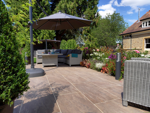 Patios from large porcelain tiles